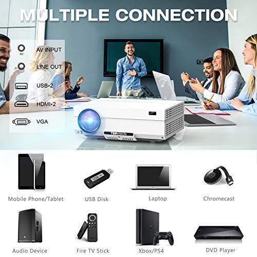"TOPVISION Heimkino Beamer, 6500 Lumen Video Projektor with 80.000 Stunden Verlängert, Native 1080P LCD Beamer Full HD, 4K 300"" Heim/Berufsprojektor für Smartphone/PC/TV-Box/Laptop/PS4/PPT - 4"