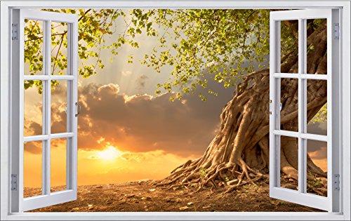 DesFoli Baum Natur 3D Look Wandtattoo 70 x 115 cm Wanddurchbruch Wandbild Sticker Aufkleber F390