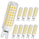 LEDGLE 10W G9 Bombillas LED, Equivalente a Halógeno de 100W, 100 LEDs, 900lm Blanco Cálido 3000K, Sin Parpadeo, No Regulable, Ángulo de Luz de 360°, Pack de 10 Unidades