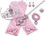 Aoi Set Costume da Principessa, con Corona Principessa, Anelli, Guanti, Collana, Orecchini, per Bambini, Ragazze, Cosplay, 8 Pezzi (Rosa)