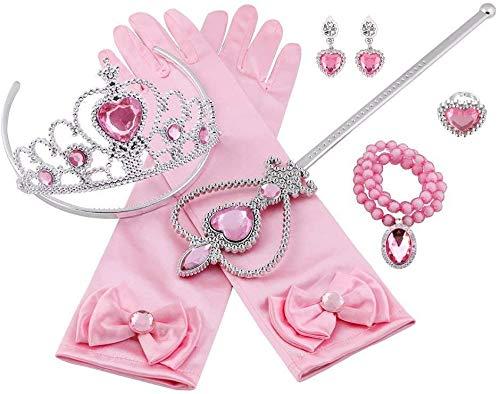 Aoi Prinzessinnen-Kostüm-Set, mit Prinzessinnen-Krone, Ringen, Handschuhen, Halskette, Ohrringe, für Kinder, Mädchen, Cosplay, 8 Stück (Rosa)