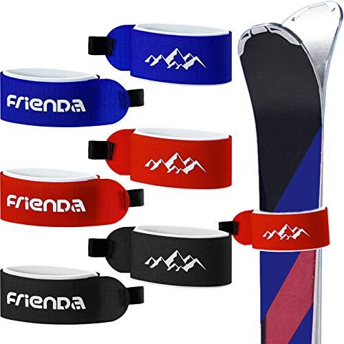 6 Pezzi Cinghie Cintura da Sci Fissaggio Nastro Gancio e Cerchio Regolabile Sci Impacchi Cravatte per Famiglie Uomo Donna Bambini (Rosso, Nero, Blu)