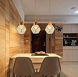 Modern Holz Pendelleuchte Esstischlampe Höhenverstellbar Hängeleuchte mit E14 Fassung 3-flammig Deko Pendellampe für Rustikal Esszimmerleuchte Küchen Restaurant Landhaus Flur Bar Loft Cafe Lampe