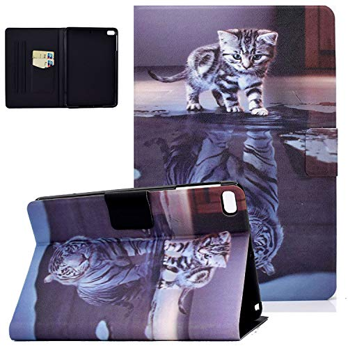 iPad Mini 5 Case 2019, Mini 4/Mini 3/Mini 2/Mini Cover, UGOcase Folio Multi-Angle Viewing Stand Smart Auto Sleep Wake PU Leather Protective Wallet Shell for Apple iPad Mini 7.9 inch - Cat & Tiger