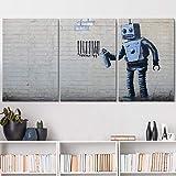 wall26 - Robot Graffiti Banksy Street - Canvas Art Wall Art - 16'x24'x3 Panels