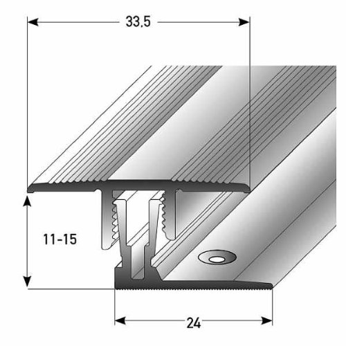 Klick-Übergangsprofil Laminat / Parkett, 11 - 15 x, 33,5 mm, Alu. Eloxiert, silber