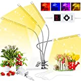 Grow Lights for Indoor Plants Full Spectrum, LED Plant Lights with Timer 3 6 9 12H, 264 LED 9 Dimmable Levels Growth Lamps with Red Blue Spectrum, 4 Switch Modes, Adjustable Gooseneck