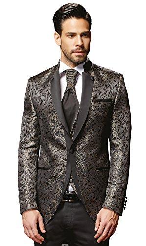 Herren Anzug - 8 teilig - Schwarz Champagner Designer Hochzeitsanzug NEU PC_19 (54)