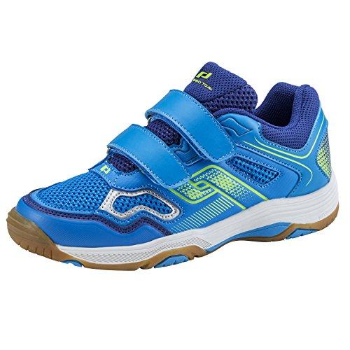 Pro Touch Indoor-Schuh Rebel II Jr. Klett, Unisex-Kinder Multisport Indoor Schuhe, Blau (Blue/Navy/Green Lime 000), 30 EU (12 UK)