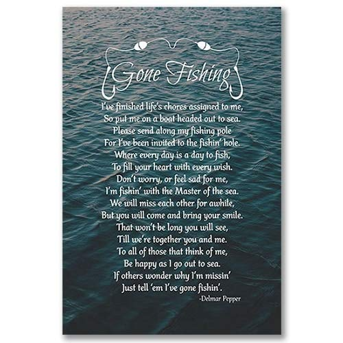 YSYHB Gone Fishing Poem Poster See Leinwand Kunstdrucke, Delmar Pfeffer Trauer Zitat Poster Malerei Wandkunst Dekoration PH1195 A4 21x30 cm Kein Rahmen