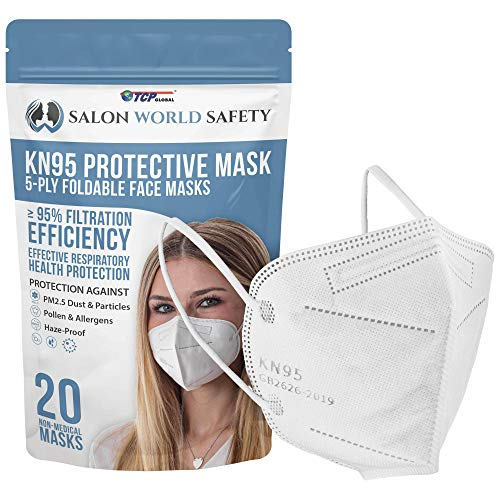 Salon World Safety KN95 Protective Masks, Pack of 20 - Filter Efficiency ≥95%, 5-Layers, Protection Against PM2.5 Dust, Pollen, Haze-Proof - Sanitary 5-Ply Non-Woven Fabric, Safe, Easy Breathing Wear