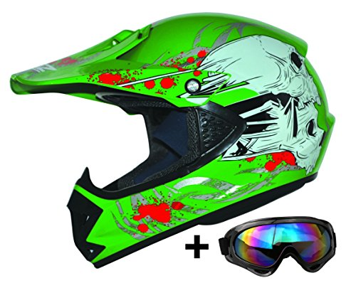 ATO Moto Kids Pro Kinderhelm in Grün inklusive MX Motorrad Brille pocket bike