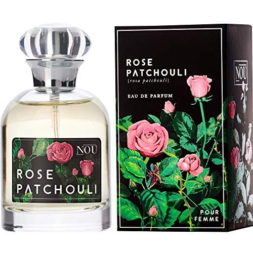 NOU Eau de Parfum Rose and Patchouli - Blumenparfüm für Damen Rose & Patschuli, Süße Zitrus-Noten - Natürliches Frisches Parfüm für Frauen mit Reinen Ätherischen Ölen - Rosenduft - 50 ml EdP