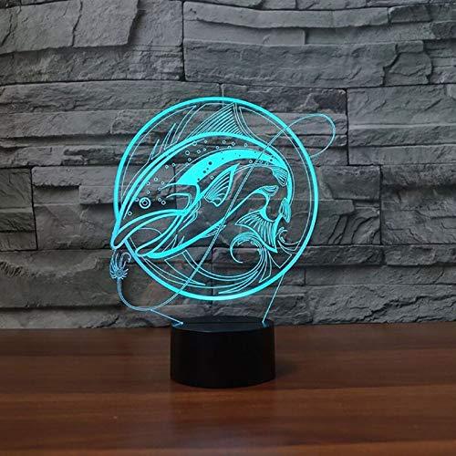 hqhqhq Lámpara 3D de Pesca USB LED 3D luz Nocturna Interruptor táctil 16 Colores Lámpara de Interior Gancho Carpa Fish Lámpara de Escritorio para Juguete Gift con Mando a Distancia -1314