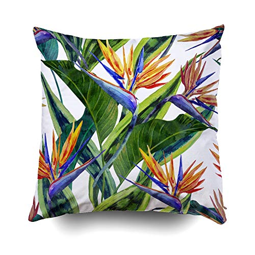 Pamime Best Pillow,Square Throw Pillow Case Watercol Tropical Flowers Jungle Leaves Hawaiian Plants Bird Pillow Case Cover Decorative Cushion for Home 16X16Inches,Multi Gold