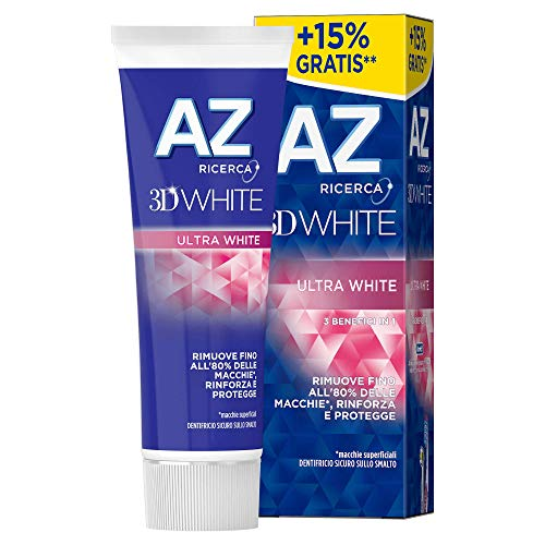 AZ 3DWhite Sbiancante Ultra White Dentifricio, Bianco Brillante, 75 ml