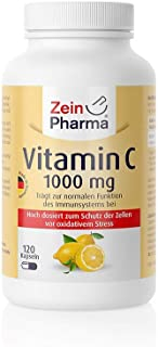 Vitamina C 1000 mg 120 cápsulas (ácido ascórbico) Dosis alta premium. 100% Made in Germany