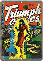 Triumph Comic 金属板ブリキ看板警告サイン注意サイン表示パネル情報サイン金属安全サイン