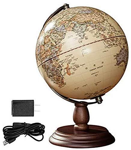 THj Adornos de Globo Antiguo, Globo terráqueo Antiguo de 10 Pulgadas de diámetro, Globo terráqueo de Escritorio Decorativo Antiguo, Globo de geografía terrestre Giratorio, Regalo para niños