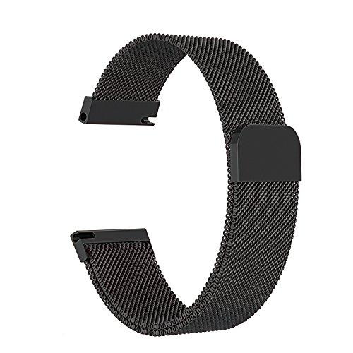 時計バンド ウォッチベルト マグネット式腕時計バンド スマート時計バンド 幅 18mm 20mm 22mm 交換ベルト メッシュバンド ミラネーゼバンド (20mm, ブラック)