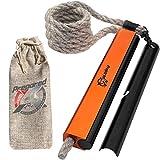 Emergency Fire Starter Kit – Water Resistant Fire Starter Survival Tool, Ferro Rod, Flint and Steel, 36' Hemp Rope Wick – Fire Kit Survival Lighter – Camping Gear, Hiking Gear, Emergency Survival