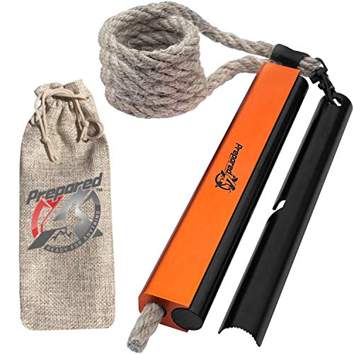 Emergency Fire Starter Kit – Water Resistant Fire Starter Survival Tool, Ferro Rod, Flint and Steel, 36' Hemp Rope Wick – Fire Kit Survival Lighter – Camping Gear, Hiking Gear, Emergency Survival