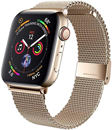 M MOUKOU Correas de Repuesto compatibles con Apple Watch de 38 mm, 40 mm, Correa de Repuesto Ajustable de Malla de Acero Inoxidable para iWatch Series SE/6/5/4/3/2/1