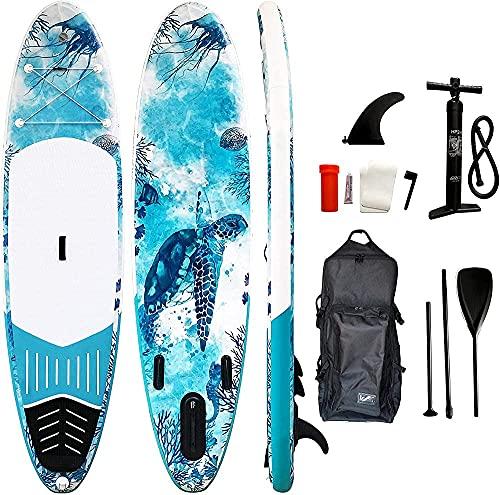 Tabla Hinchable Stand Up Paddle Surf Premium Sup Accesorios con Ruedas Mochila Fin Paddle Mano Bomba | Juventud Adultos