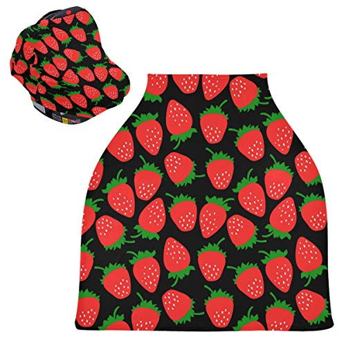 Strawberry Fruit Baby Car Seat Covers - Stroller Canopy Stretchy Nursing Scarf, Multi-use Carseat Canopy, for Boys and Girls Shower Gift