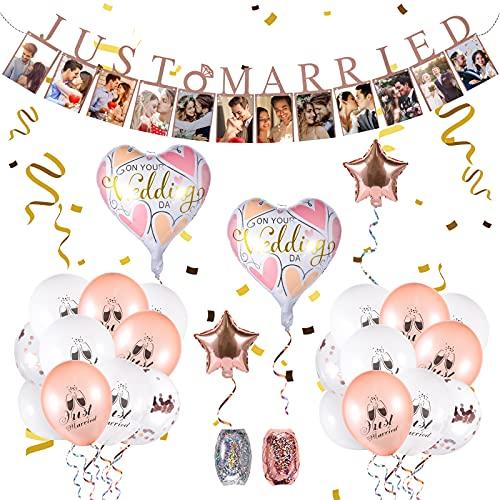 FORMIZON 34 Pcs Just Married Decoracion Kit, Guirnalda de fotos Oro Rosa,...