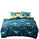 Dinosaur Bedding Sets Queen Duvet Cover Blue 3 Piece Cartoon Bed Set Full Size for Boys Kid Students with 2 Pillow Shams, Cotton 100