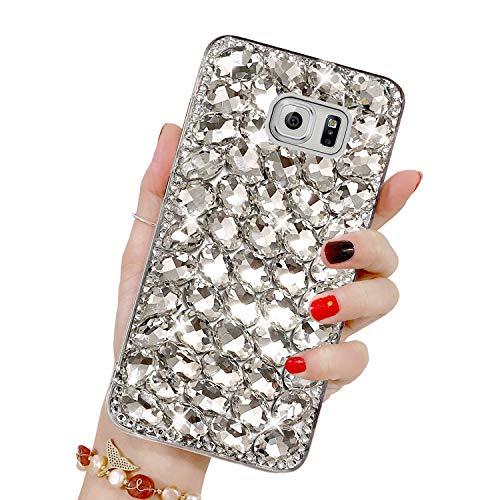 Bling Glitzer Hülle für Galaxy S6 Edge Plus, Misstars 3D Diamant Strass Handyhülle Transparent Hart PC Rückschale mit Silikon TPU Rahmen Schutzhülle für Samsung Galaxy S6 Edge Plus, Silber