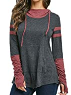Thumb hole at the end of sleeve just like a glove good to keep your hands in winter. Stylish tunic hoodies with kangaroo pocket in the front. The sleeve is longer than usual. Ladies long sweatshirt easy to pair with leggings, skinny jeans , boots, ja...