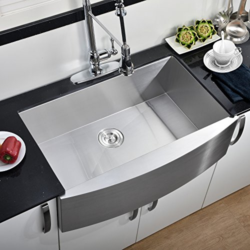 Comllen Commercial 33 Inch 304 Stainless Steel Farmhouse Sink, Single Bowl Kitchen Sink 16 Gauge 10 Inch Deep Handmade Undermount Kitchen Apron Sink Farm Sink