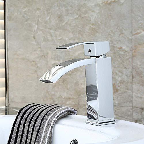 KEKEYANG Cuarto de baño grifo caliente y frío/encima del contador lavabo grifo lavabo/grifo solo agujero cascada