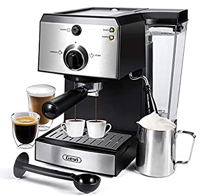 Espresso Machines 15 Bar Coffee Maker Cappuccino Machine with Adjustment Milk Frother for Espresso, Latte and Mocha, 1.5L Removable Water Tank and Double Temperature Control System, Black, 1100W