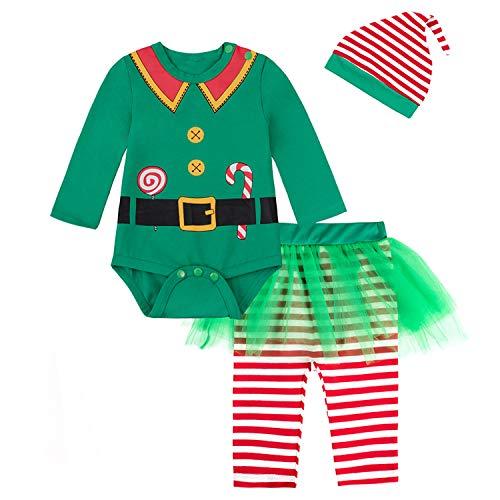 Baby Girls Newborn 1st Christmas Costume Tutu Dress Elf Outfit Set(6-12 Months Green)