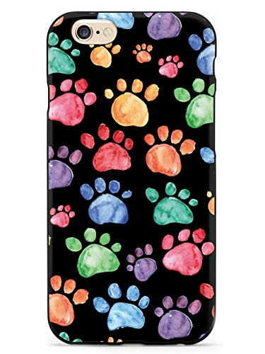 Inspired Cases - 3D Textured iPhone 6 Plus/6s Plus Case - Rubber Bumper Cover - Protective Phone Case for Apple iPhone 6 Plus/6s Plus - Watercolor Paw Prints - Black