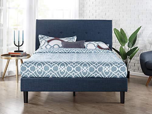 ZINUS Omkaram Upholstered Platform Bed Frame / Mattress Foundation / Wood Slat Support / No Box Spring Needed / Easy Assembly, Queen