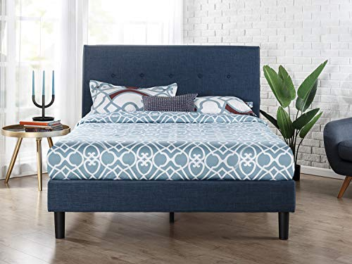 Light Grey Platform Bed with Headboard