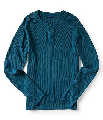 Aeropostale Mens Henley Thermal Sweater, Blue, X-Small