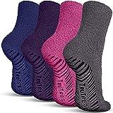 TruTread Fuzzy Socks for Women & Men - Non Slip / Skid Hospital Crew Socks - 4 Pairs