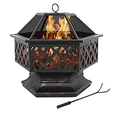 "F2C Outdoor Heavy Steel Hex Shape 24"" Fire Pit Wood Burning Fireplace Patio Backyard Heater Steel Firepit Bowl (24"" Hex)"