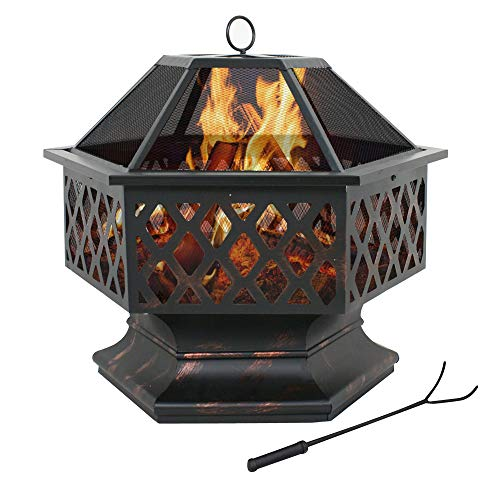 F2C Outdoor 24 inch Hex Shaped Fire Pit Wood Burning w/Flame-Retardant Mesh Lid, Poker Fireplace Patio Backyard Steel Firepit Bowl Heater