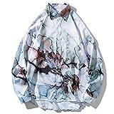 Camisa Casual de Manga Larga para Hombre Estampado Suelto de Personalidad Básico Clásico Dobladillo Irregular de un Solo Pecho Cómodo y versátil Top XXL