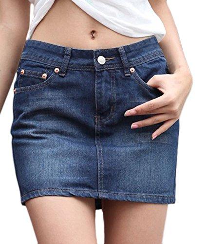 chouyatou Women's Casual Short Denim Skirt (Medium, Lblue)