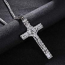 LHQ-HQ Trendy Mannen/Vrouwen Kruis Christus Jezus Hanger Ketting Goud/Staal Kleur Crucifix Jezus Ketting & Hanger Sieraden...