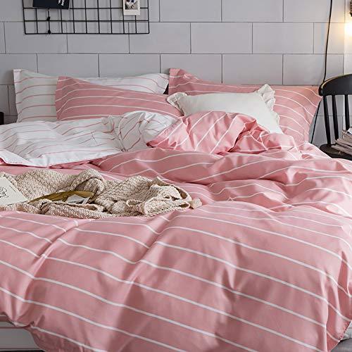 Luofanfei Bettwäsche Bettbezug Rosa Weiß 200X200 cm Gestreift Streifen 3 Teilig Geometrisch Muster Wendebettwäsche Druck Microfaser mit Reißverschluss Zweiseitig Design (PK, 200 x 200cm 80 x 80 cm)