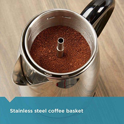 Spectrum Brands Farberware 8-Cup Percolator, Stainless Steel, FCP280, Black