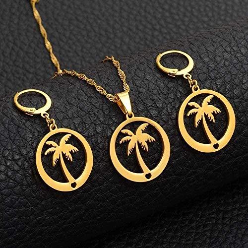 huangshuhua Collar Mujer Collar Pendientes de árbol de Coco para Mujeres/niñas Color Dorado Joyas Estilo de Playa